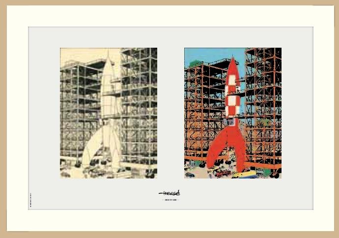 Tintin rampe de fusee lithographie cadre bois moulinsart tintin moul23521b - Fusee de tintin a colorier ...
