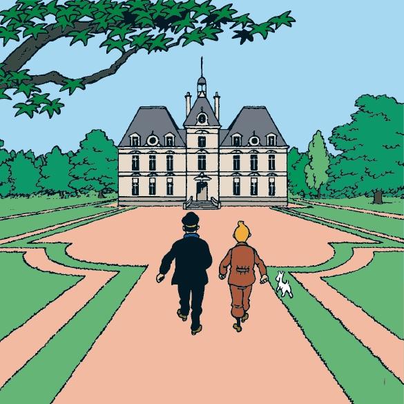 Tintin le chateau de moulinsart canvas print 100 x 100 cm mo - Le chateau de moulinsart ...