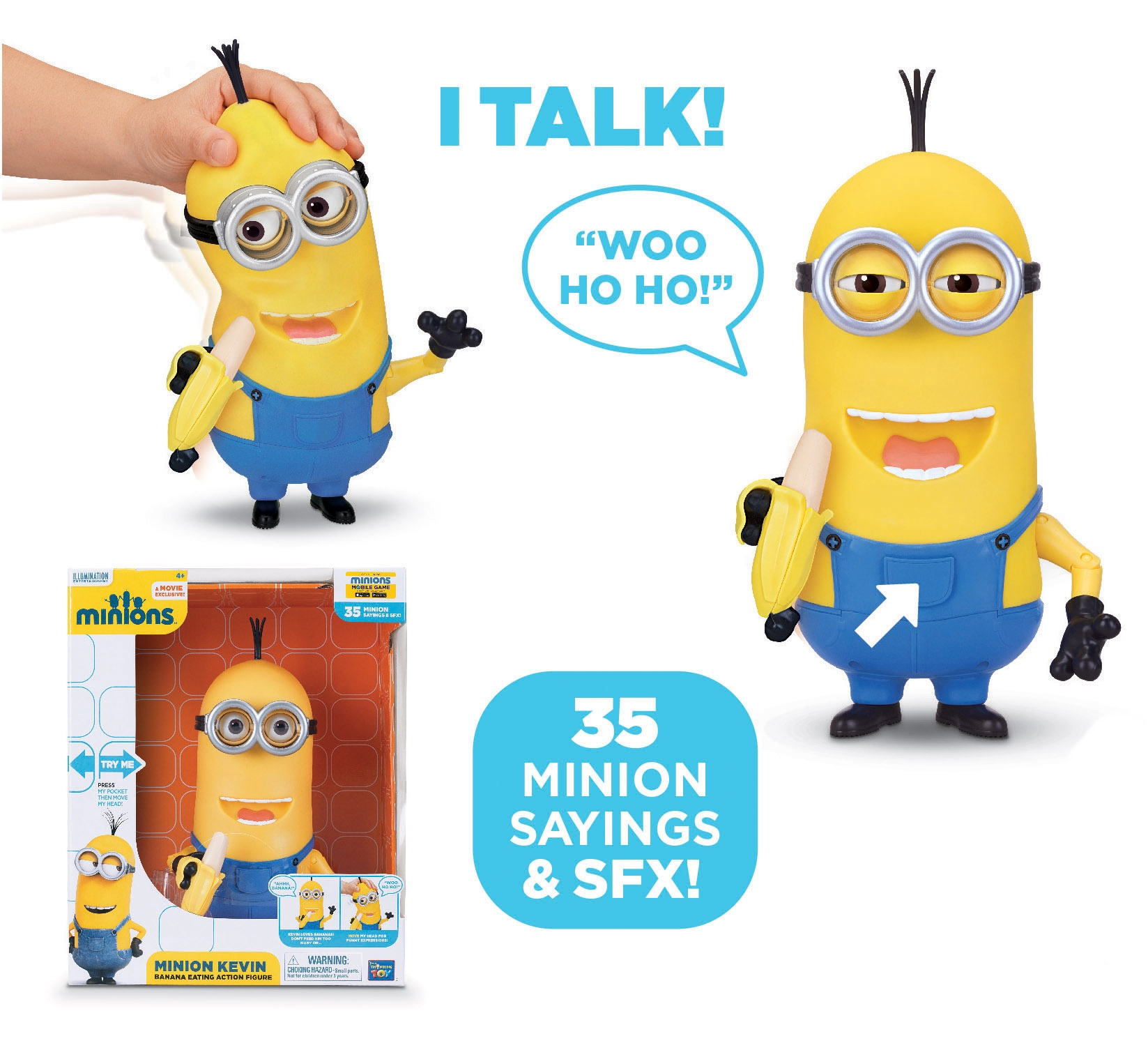 MINIONS: MINION KEVIN, BANANA EATING - 27 cm electronic ...