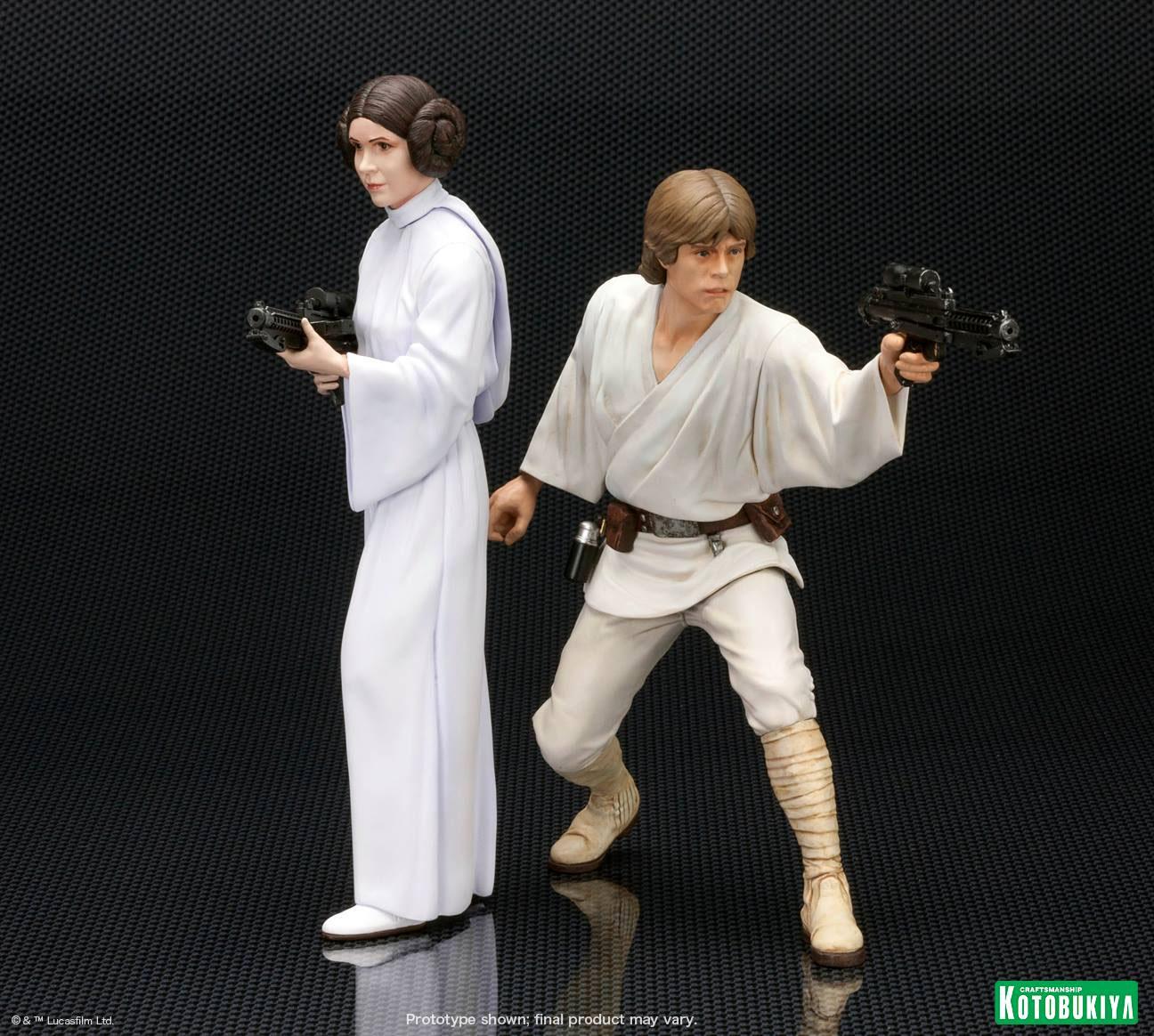 star wars luke skywalker princess leia statuettes pvc artfx 1 10 16 cm kotobukiya ktosw89. Black Bedroom Furniture Sets. Home Design Ideas