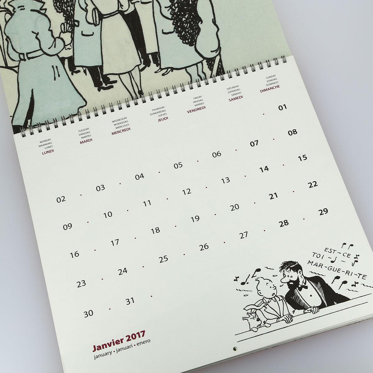 Tintin l 39 art d 39 herge grand calendrier 2017 30 x 30 cm Grand calendrier mural 2017