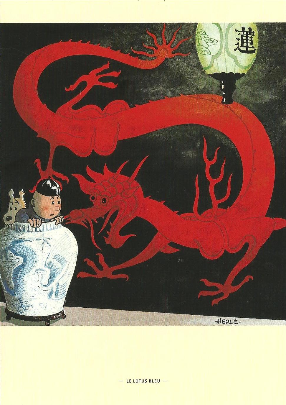 Tintin Illustration De Couverture Le Lotus Bleu Carte